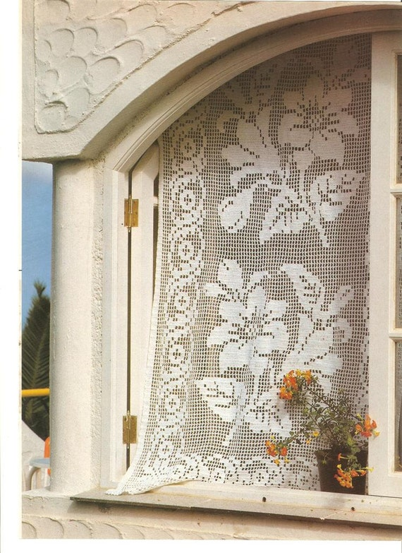 Country curtains crochet patterns rustic vintage filet dt1010fo