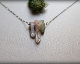Shaman- Raw Quartz Necklace, Lodolite Necklace, Raw Quartz Point, Garden Quartz Necklace, Healing Crystal Necklace, Dream Stone Necklace