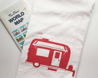 Retro Camper Print Flour Sack Towel//Color Options//Vintage Camper