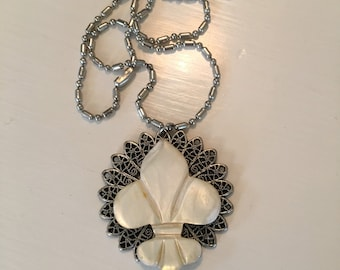 Repurposed Necklace with Vintage Mother of Pearl Fleur de lis