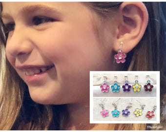 Girl's Enamel Flower Clip On or Pierced Earring, Girls Pierced Enamel Flower Earring, Clip on or Pierced Enamel 60's Flower Earring