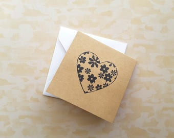 """3"""" Square Fold Note Cards with Envelope / Mini Note cards / Mini Thank You Enclosures / Floral Heart  / Set of 6"""