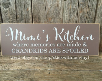Personalized gift, gift for grandmother, grandmother gift, gift for her, home decor, kitchen sign, Mimi's kitchen, Christmas gift