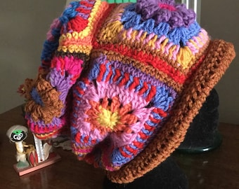 Colourful Crocheted Slouchy Hat