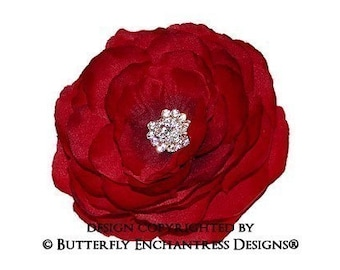 Crystal Rhinestone English Rose Flower Hair Clip in Spanish Red