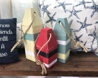 Lobster Buoys (Set of 3) - Nautical Decor, Wooden Decorative Buoys, Buoy Decor, Fishing Buoys, Maine Lobster Buoy