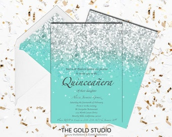 Teal Quinceañera invitation | Turquoise Mis Quince Anos Glitter 15th Birthday Party Invite | Glam Birthday Quince invitation | FREE SHIPPING