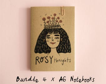 BUNDLE of 4 A6 Floral Thoughts Notebooks