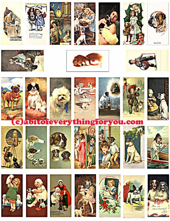 "puppy dogs vintage art postcards domino collage sheet 1"" x 2"" images clipart digital download  graphics pendant printables magnets pins"