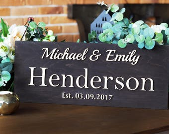 Rustic Last Name Sign, Family Name Sign Wood, Last Name Sign Family, Wedding Sign, Wood Sign | Last Name Established Sign | Last Name Gift
