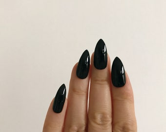 Stiletto, Glossy, Black Hand Painted Nail Tips / Press On / Stick On / Fake Nails - 12 pcs or 20 pcs