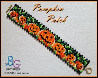 PUMPKIN PATCH Peyote Bracelet Cuff Pattern