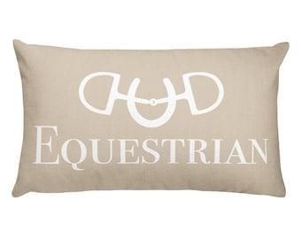 Cream Equestrian Lumbar Pillow