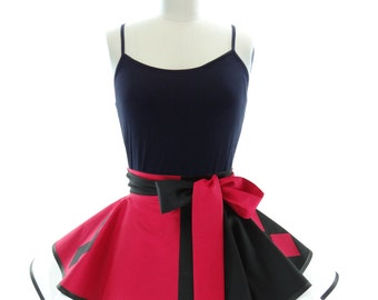 Retro Half Apron - Harlequin Womens Aprons - Vintage Apron Style - Pin up Villian Cosplay Costume Apron