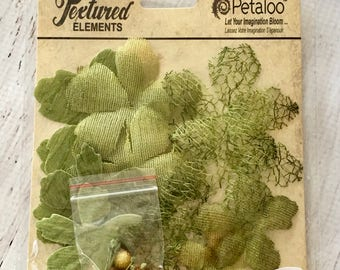 Petaloo Textured Elements Collection, Floral Ephemera in Moss Green, papercrafts, cardmaking, mixed media, art journal, flower embellishment