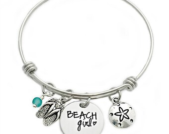 Beach Girl Bangle Bracelet - Engraved Jewelry - Expandable Wire Bangle - Beach Jewelry - Flip Flop - Sea Glass - Summer Beach Jewelry - 1004