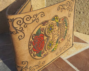 Sugar Skull Leather Wallet - Hand Stitched - Hand Painted- Day of the Dead