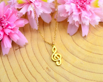 Treble Clef Necklace, Necklace For Women, Music Note Necklace, Statement Necklace, Music Note,  Treble Clef Pendant, Music Necklace, violin
