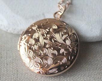 Rose gold locket Etsy