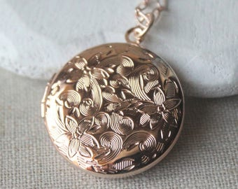 SMALL Rose Gold Locket necklace, plated, Round engraved Rose gold photo locket, rose gold Bridesmaid, choose your length chain N207