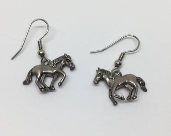 Horse Earrings, Sterling Silver, Vintage Otto Robert Bade, Wire Dangle Earrings