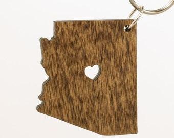 Arizona Wooden Keychain - AZ State Keychain - Wooden Arizona Carved Key Ring - Wooden AZ Charm - State of Arizona Keychain - Arizona State