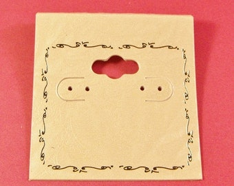 TAX SEASON Stock up 50 Pack White Plastic  2X2 Inch Hanging White and Silver Whimsically Adorned Earring Cards