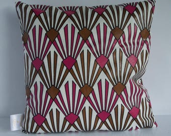 White Pink Gold Black Outline Hand Screen Print Hand Crafted Art Deco Design Square Pillow