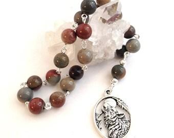 Jasper Wolf Pocket Prayer Beads // Pagan // Wiccan