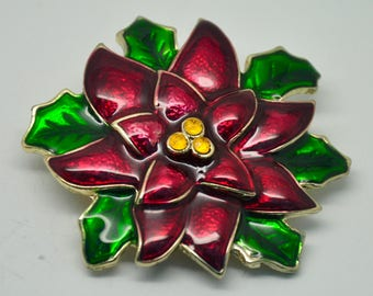 U9: Haskell Signed Red Enamel and Rhinestone Christmas Poinsettia Brooch--signed Haskell