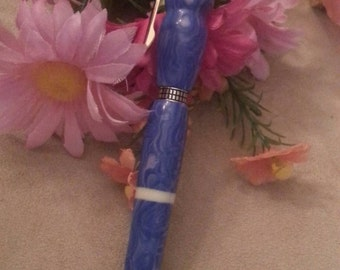 Purple Acrylic Pen, Writing Pen, Spilled Paint Pattern, Hand Turned, White Inlay, Ladies Gift