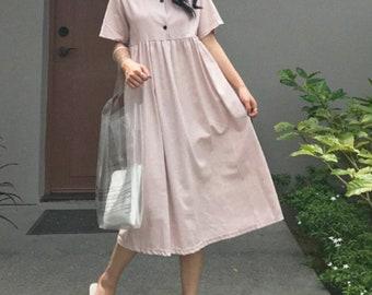 2Colors Linen loose dress - Linen Maxi Dress- Linen long Dress- Linen sleeve dress - Linen tunic Dress - Linen button down dress - Linen