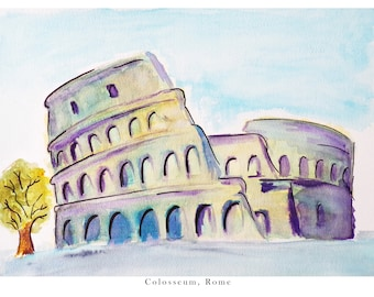 Watercolour of the Colosseum in Rome, Italy