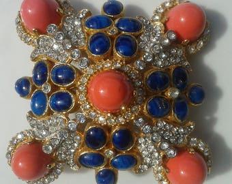 KENNETH JAY LANE  Brooch from 80s/Rhinestones/Lapis Lazulis/Corail/Gift Idea/Christmas Gift/Birthday Gift