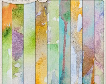 Unique Hand Painted Watercolor Papers, Digital Download, Printable Paper, Multicolor Paper Pack for Scrapbooking and Art Journaling,