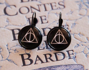 Harry Potter the Deathly Hollows 12mm, 16mm or 20mm earrings