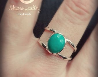Turquoise Stone Ring, Double Band Ring,Silver Ring, Gold Ring, Large Turquoise Ring,Double ring, Blue stone, Boho Hippie Ring Style