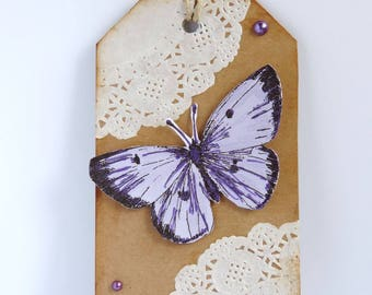 """Friendship"", tag, shabby, vintage, butterfly gift tag"