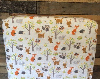 Woodland Animals Crib Sheet and changing pad cover