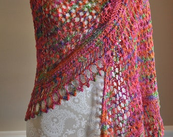 Large Lacy Style Shawl - Rainbow - Hand Knitted Wrap - Extra Large Semi Circle Shape Shawl - Gift for Her - Women's Clothing Accessory