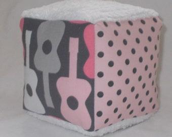 Pink Groovy Guitars Fabric Block Rattle - SALE