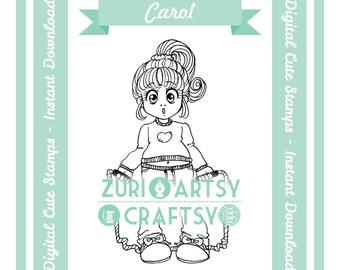 Carol, Digital Stamp, Cute Girl, Scrapbooking Digital Stamp, Instant Download, Zuri Artsy Craftsy