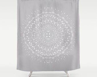 Grey shower curtain | Etsy