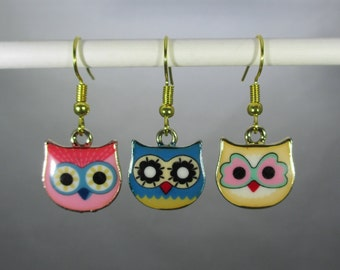 Pink, Blue, Yellow Owl/Gold Tone Dangle Earrings