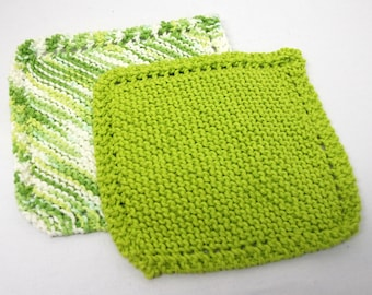 Wash Cloth Set, Mother's Day Gift, Gift for Mom:   Knitted Green and White/Solid Green - Ready to Ship