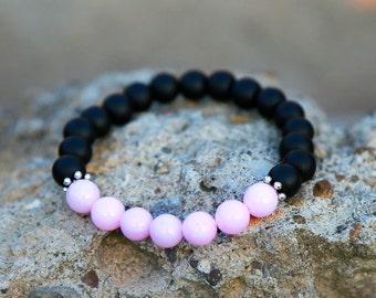 Jewelry for her wife gift Rose Quartz bracelet Rose Quartz Jewelry moms gift Bohemian bracelet