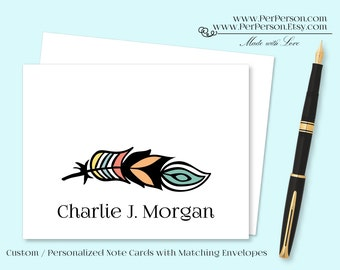 Free Ship!  Set of 12 Personalized / Custom Notecards, Boxed, Blank Inside, Feather, Initials, Monogram, Name