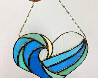 Stained glass heart wave