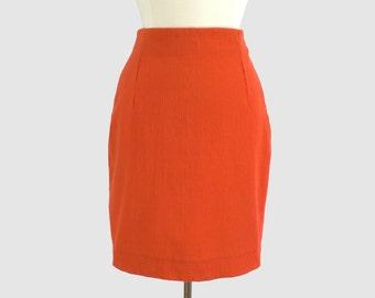 Gianni Versace Couture Vintage 1980s Pencil Skirt Bright Orange Textured Wool Blend Tailored Versace Designer Skirt Italy Medium