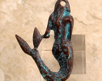Mermaid Pendant, Green Patina, Greek Casting, 45x30 MM, M294